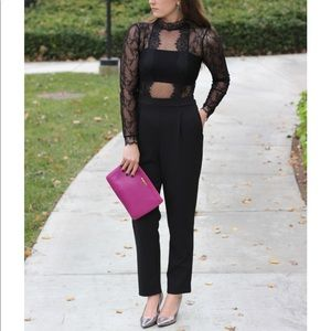 Express Mock Neck Lace Jumpsuit